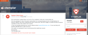 Screenshot: CTemplar incident notification on Reddit